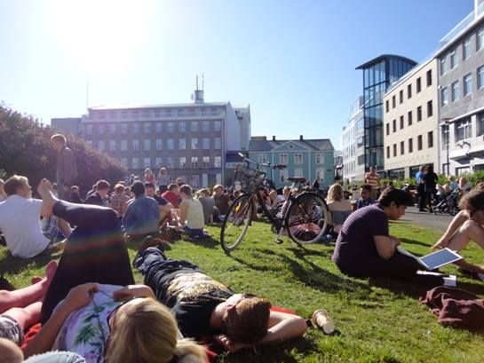 Austurvallor square in downtown Reykjavik on a summer day