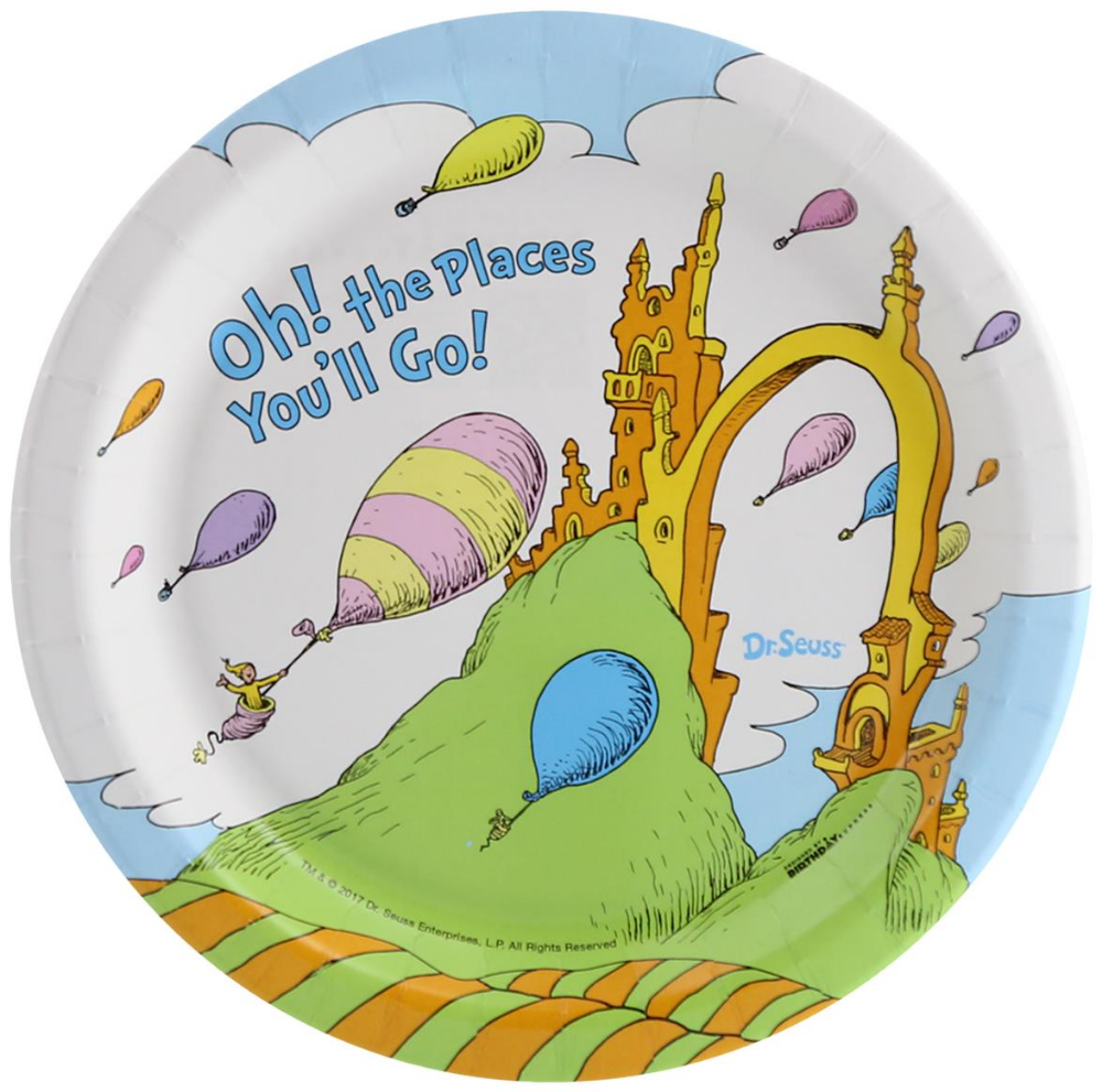 Dr Seuss Oh The Places You Ll Go Dessert Plate Partybell Com Colorful Party Supplies Halloween Party Packs Party Supplies