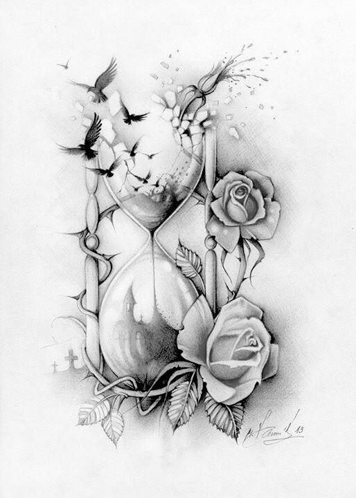 Sanduhr gezeichnet tattoo  Tattoo Sanduhr + Rosen … | Pinteres…
