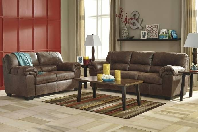 Best Ashley Bladen Contemporary Coffee Faux Leather Sofa Set 400 x 300