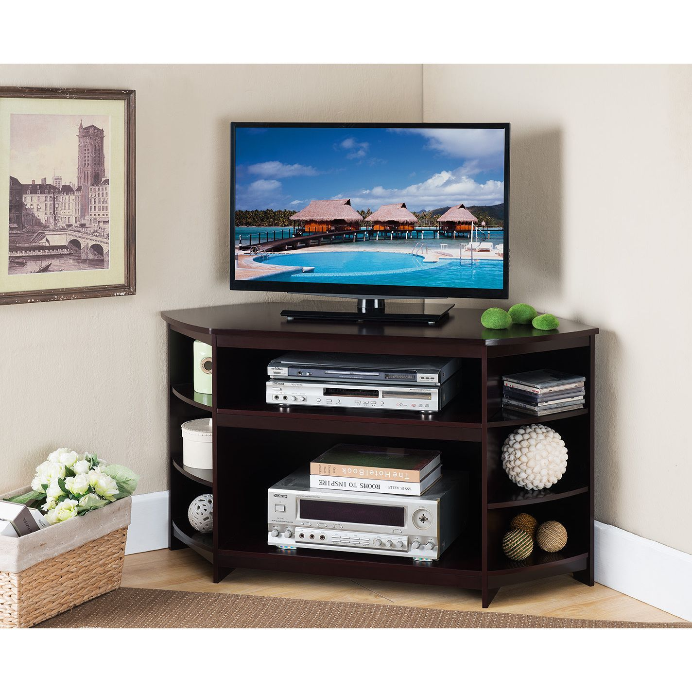 K and b furniture brown wood and veneer tv stand e tv stands
