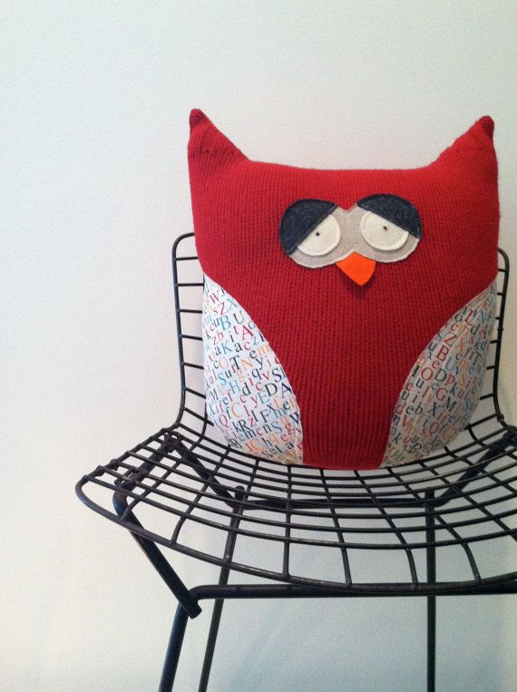 owls are made from repurposed wool sweaters and scrap + repurposed  fabric + eco-felt.