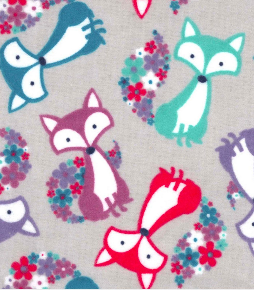 Blooming Foxes Fabric By The Yard 100 Cotton Flannel Fabric Etsy In 2020 Fox Fabric Flannel Fabric Snuggle Fabric