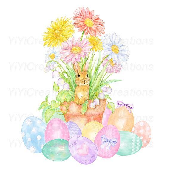 Easter egg watercolor. Happy eggs clipart bunny