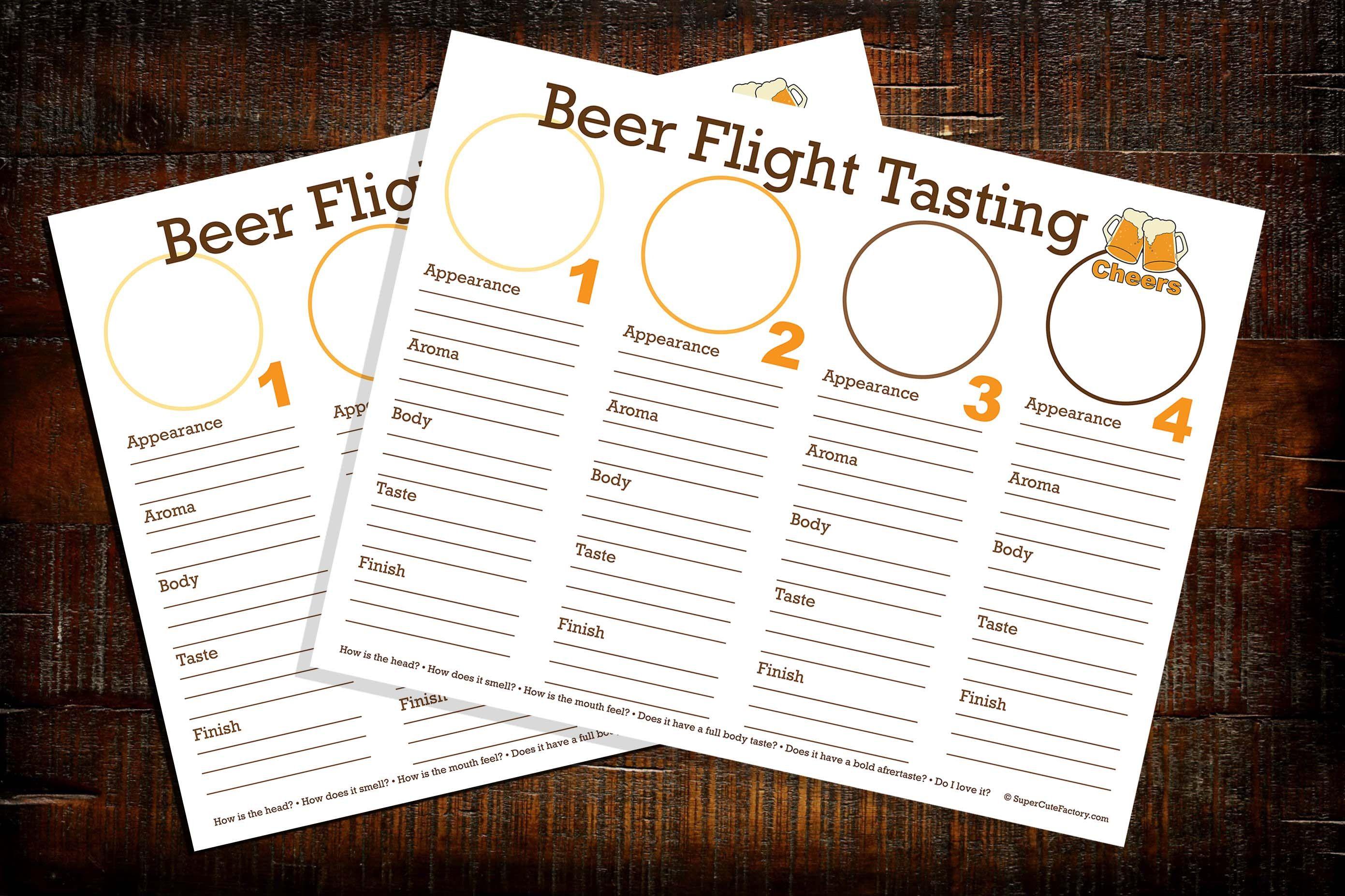Beer Flight Tasting Downloadable Printable Place Mat Sheet Etsy In 2021 Beer Flight Beer Beer Tasting