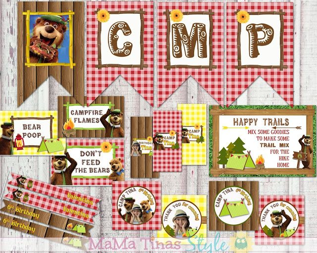Printable Kit - Party Labels Yogi Ber - Oso Yogi, Banner, Label Food, MiniChoco Hersheys, Cupcake Toppers or Favor Tag, Label Straw, Water Bottle Label, Trail Mix Sign