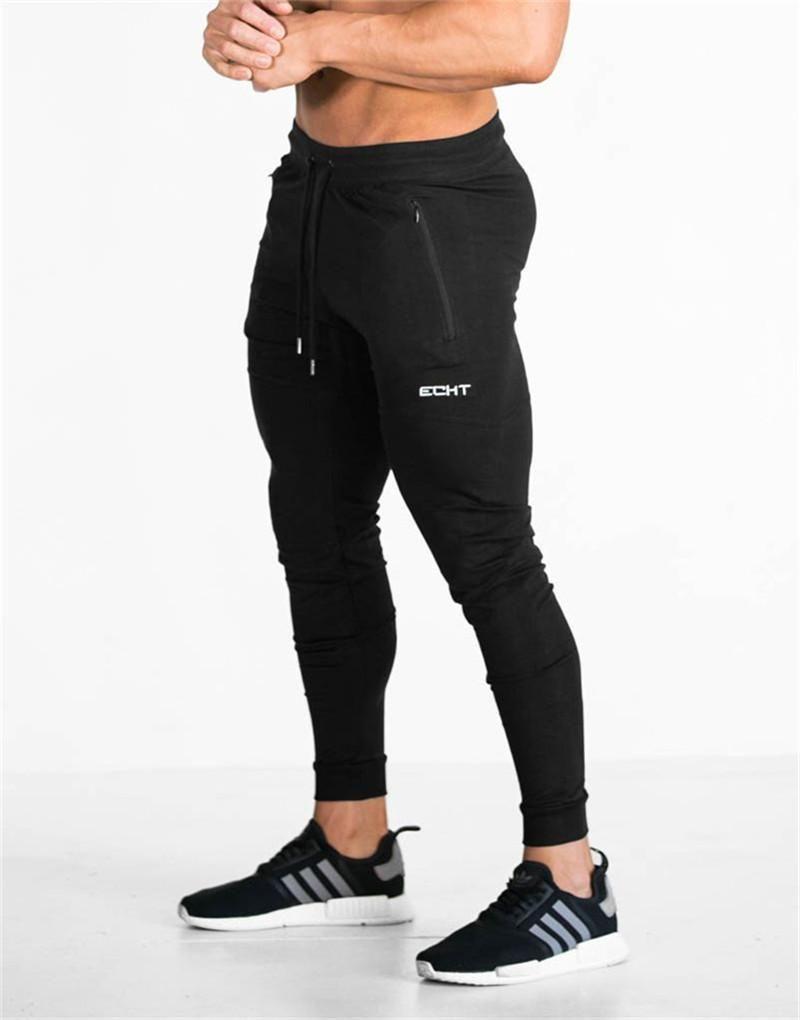 28605de2 Men Fitness Sweatpants male gyms Bodybuilding workout cotton trousers  Casual Joggers sportswear