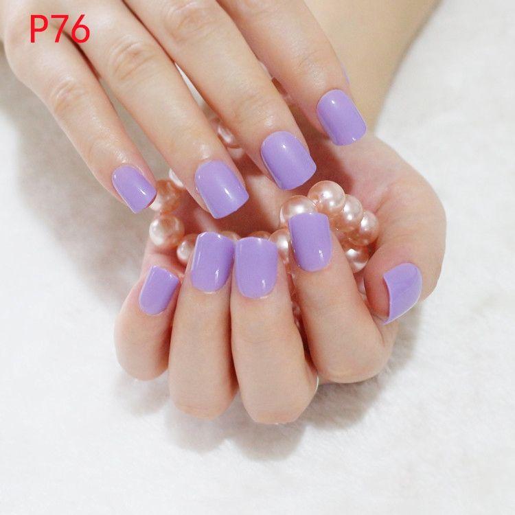 24Pcs Shiny False Nails Tips Light Purple Candy Fake Nails ...