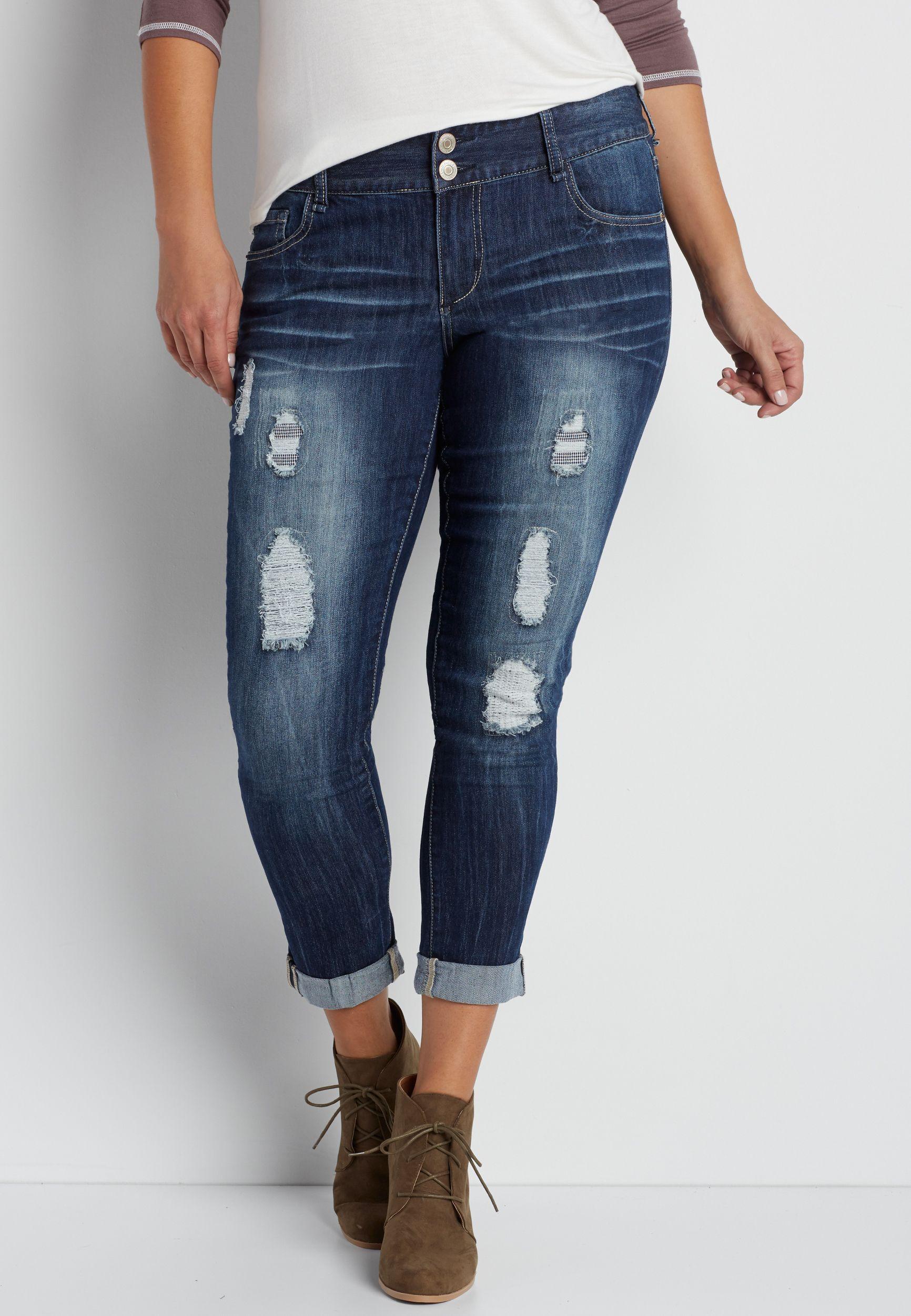 189e20ad3b9d0 DenimFlex™ plus size skinny boyfriend jeans with herringbone lined  destruction (original price