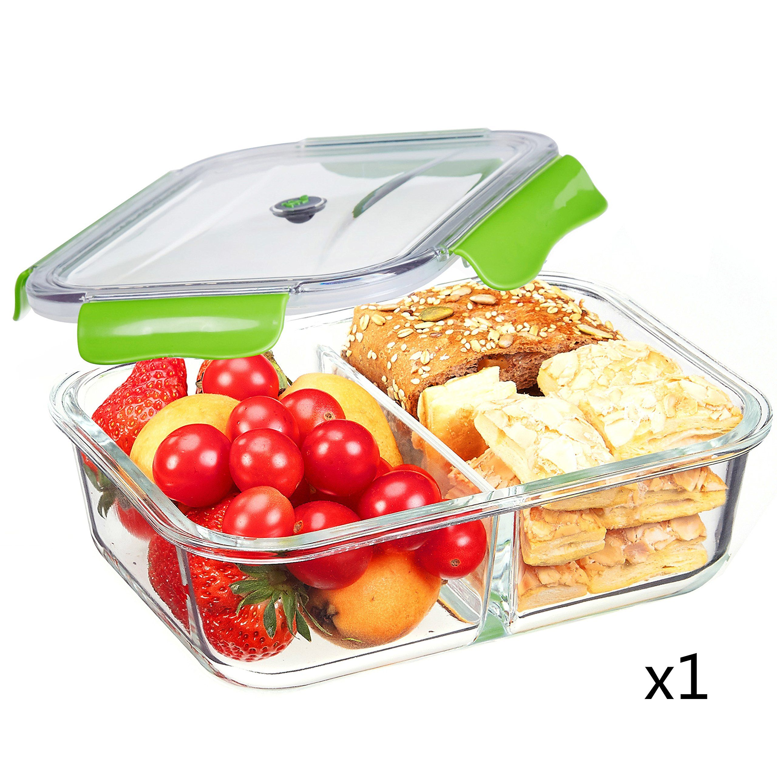 SELEWARE Food Containers Glass Microwaveable with Dividers