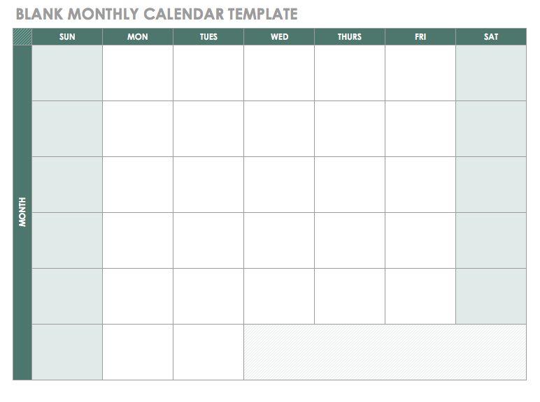 Free Monthly Calendar PDF Template Monthly Calendar Template