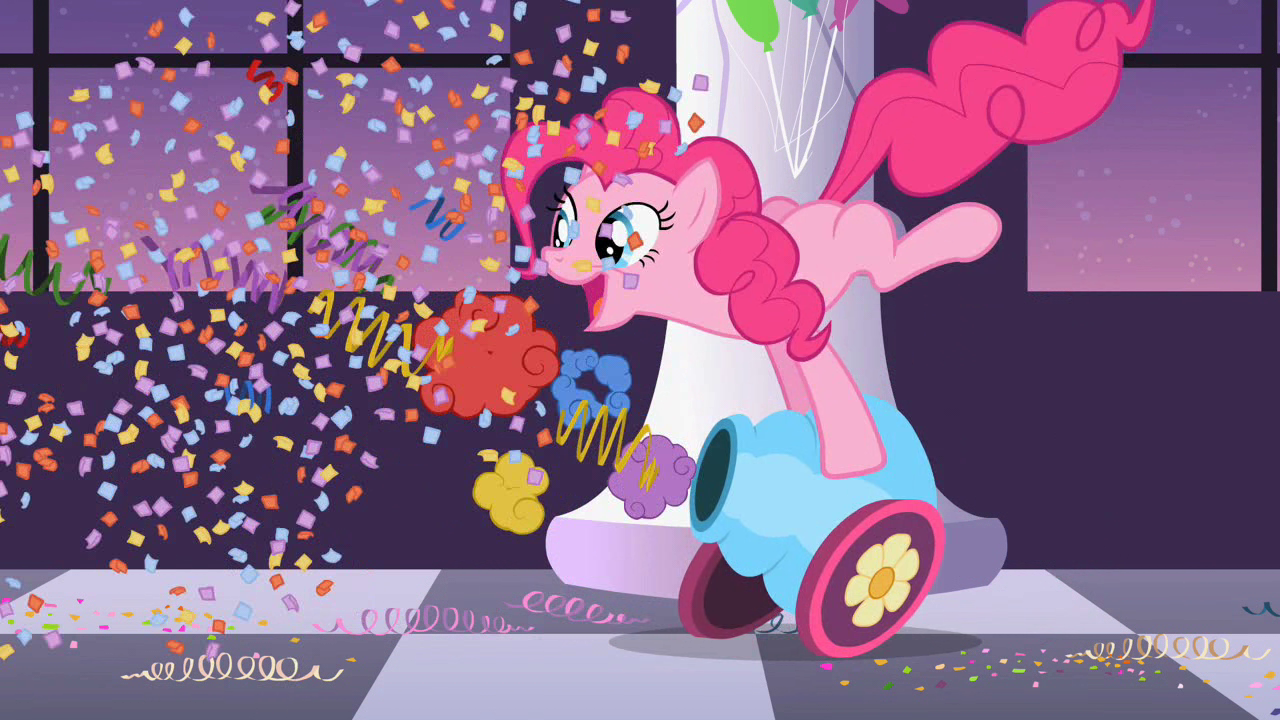 Pinkie firing the party cannon