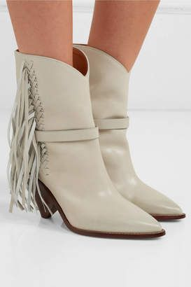 99179772db ShopStyle: Isabel Marant Loffen Fringed Leather Ankle Boots - White ...