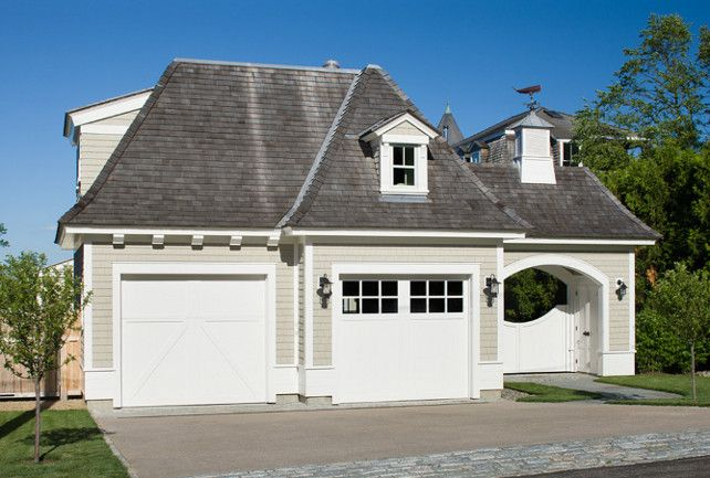 Shingles Are Maibec Pre Dipped White Cedar Shingles In Cape Cod Gray 210 Trim Is Sherwin Williams A Carriage Style Garage Doors Coastal Homes Exterior Design