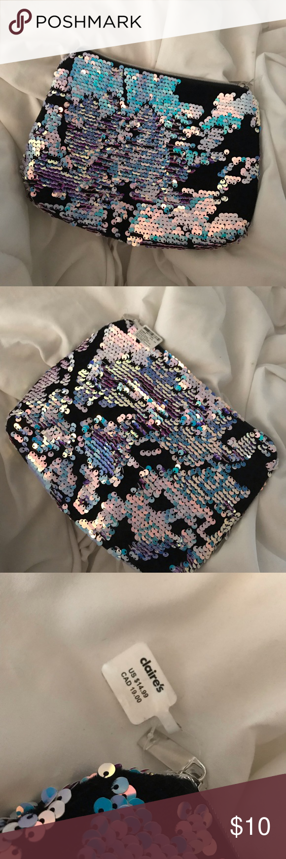 Claire's Makeup Bag Holographic sequins with black base