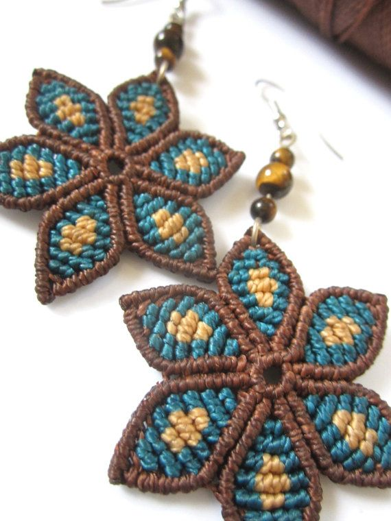 Brown&Blue Flowers Macrame Earrings with by PapachoCreations