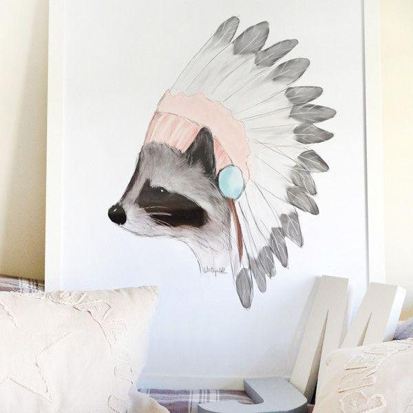 mapache plumas | La caja de las ideas | Mapache, Acuarela y Animales ...