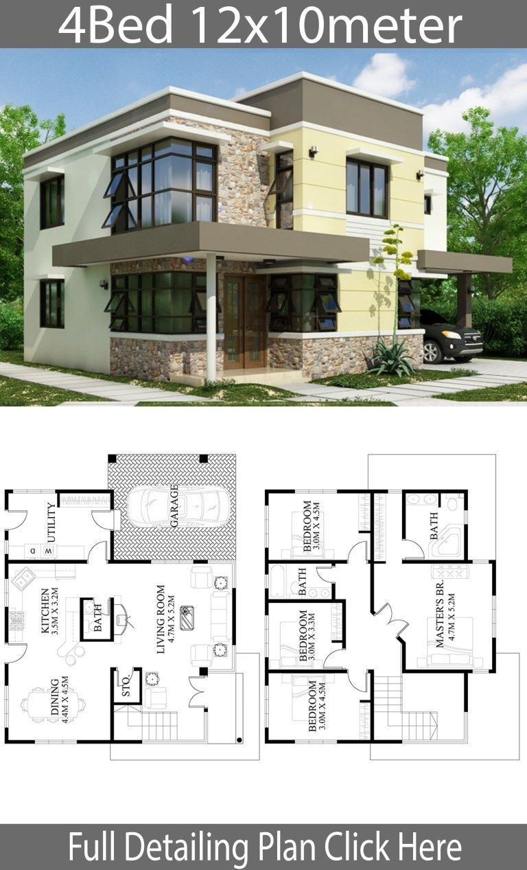 Home Design Plan 12x10m With 4 Bedrooms 12x10m 4 Bedrooms Design Home Plan With Plan Architecture Maison Plan Maison Architecte Plan De Maison Villa