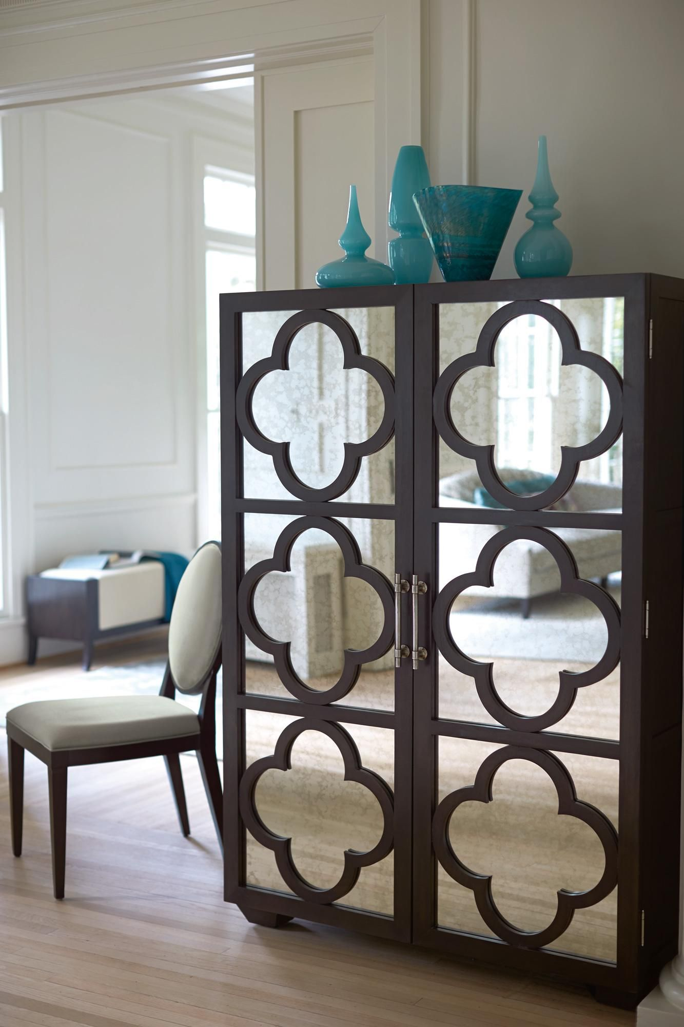 Haven Two Door Cabinet With Quatrefoil Overlay Design By Bernhardt At Story  U0026 Lee Furniture