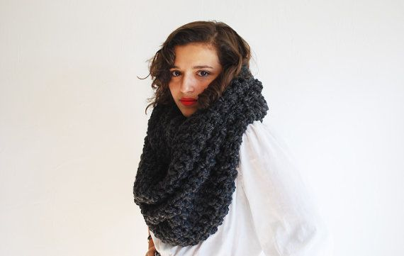 The Oversized Cowl or Hood Hand Knit in Charcoal by RememberADay, $90.00