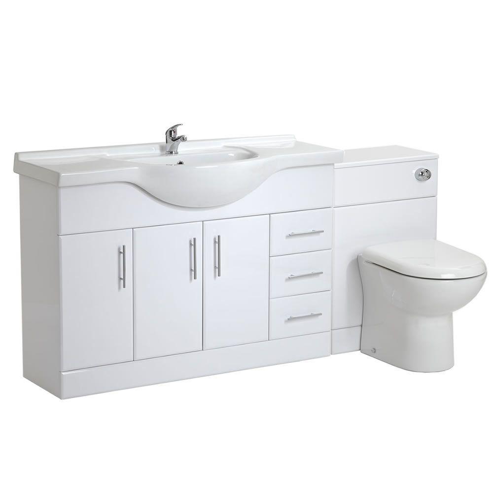 Stylish White Gloss Bathroom Furniture Vanity Unit Sink Basin and WC ...
