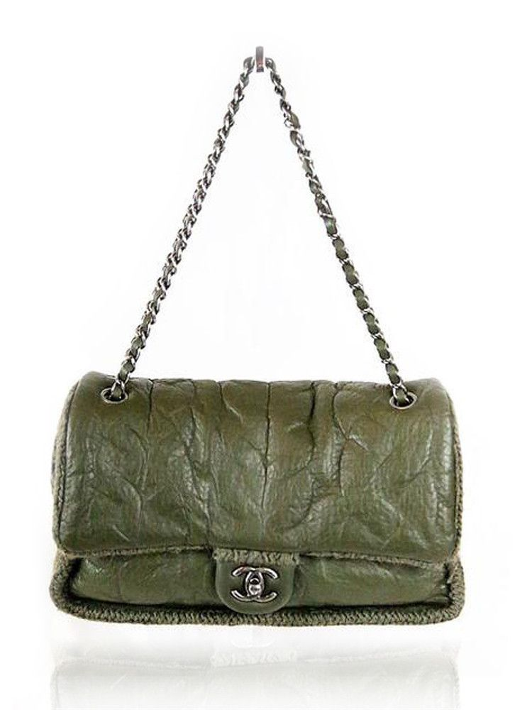 eb86c821deeb CHANEL Olive Green Leather Knit Bag  3500 http   www.boutiqueon57.com