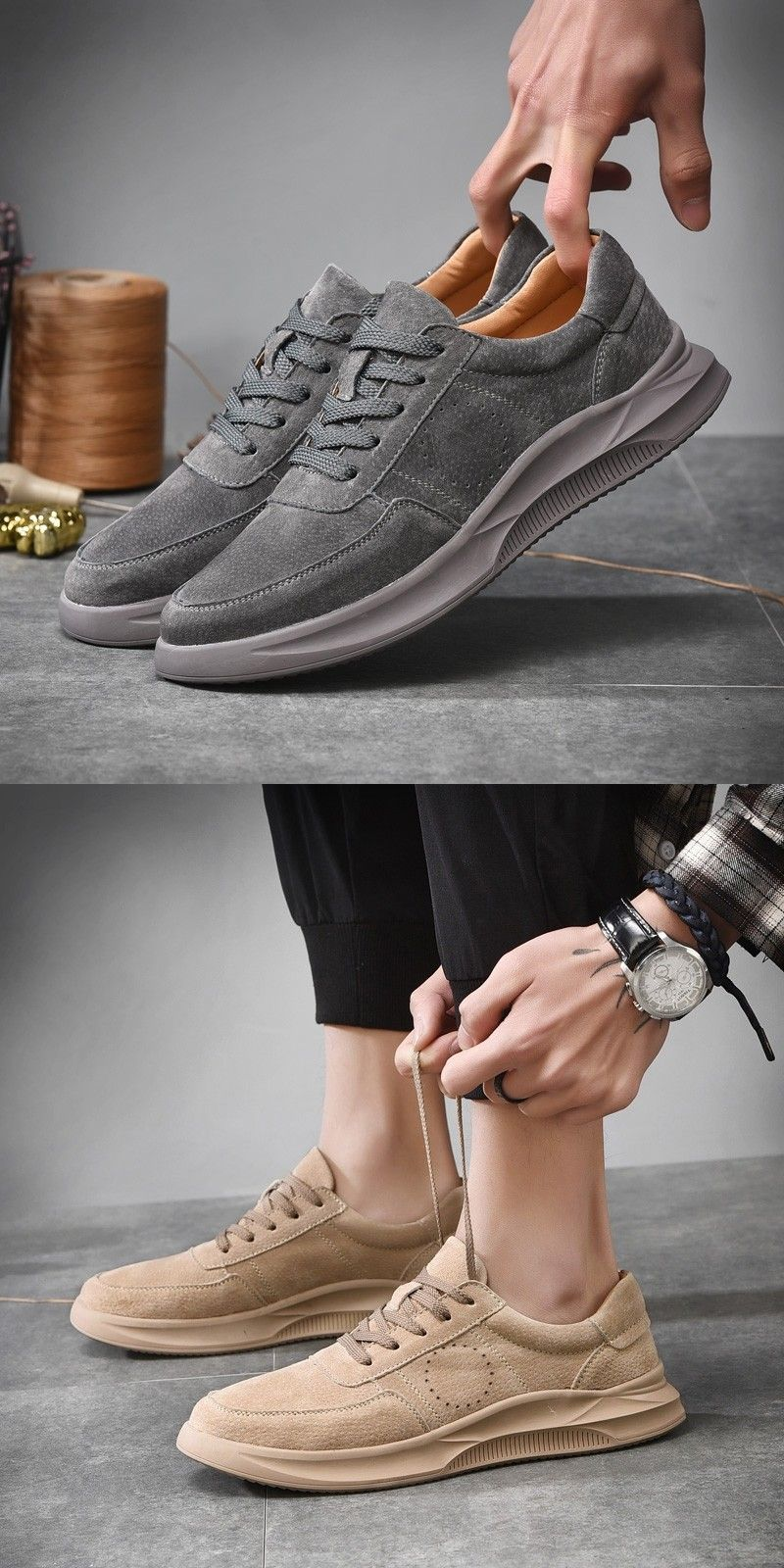 b32fda5b US $28.2 Click to buy> Prelesty New Classic Suede Leather Fashion Thick  Outsole Sneaker Shoes