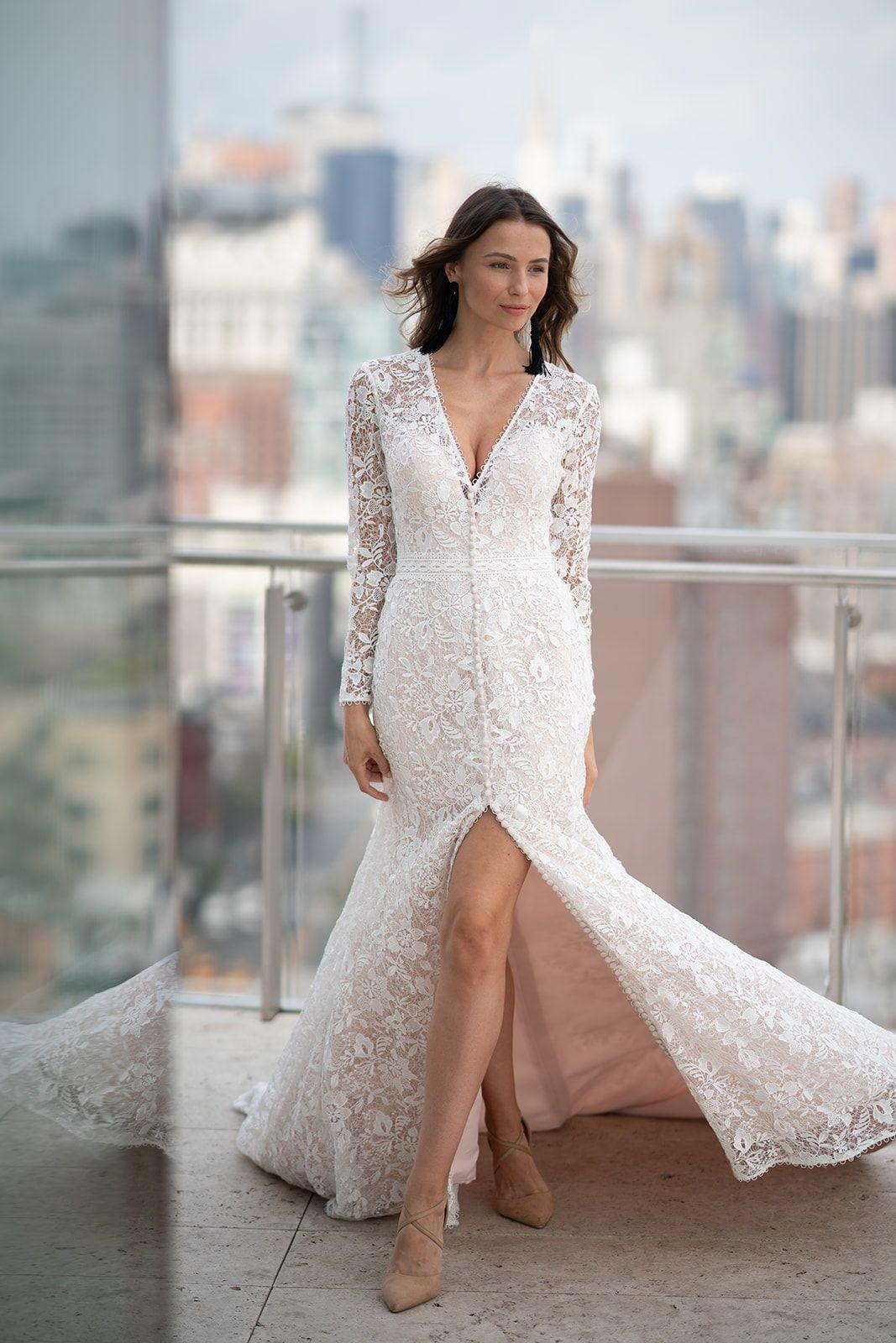 Weddings & Events Self-Conscious 2019 New Vintage Mermaid Lace Wedding Dresses V Neck Sweep Train Long Reception Bridal Gowns Informal Boho Robe De Mariee