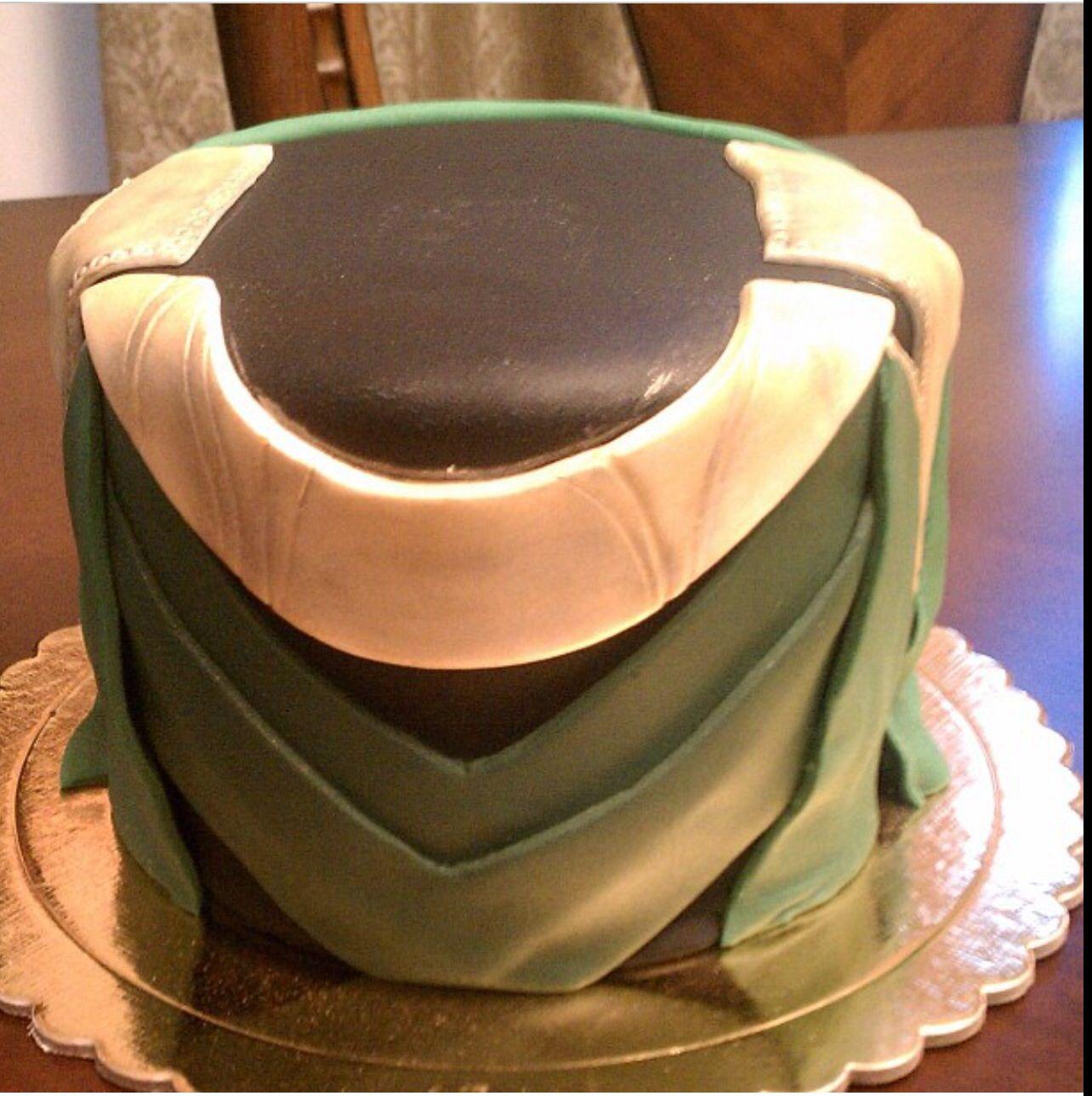 Gead cake option!!! Loki Cake Avengers inspired Fondant cake but the white part gold, with helmet on top.