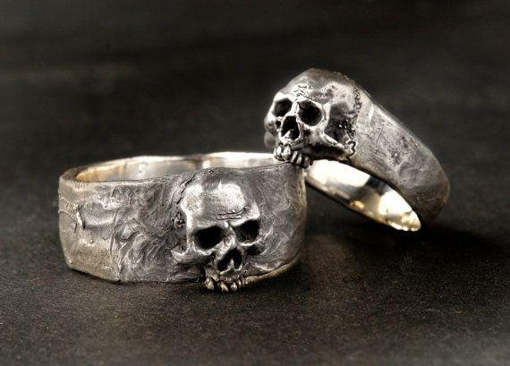 Silver Skull Wedding Ring Set Solid Sterling