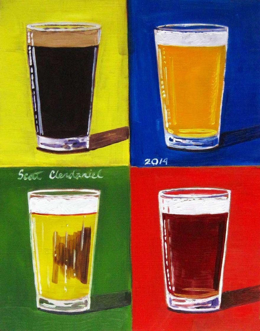Andy Warhol Pints Beer Painting Beer Drawing Beer