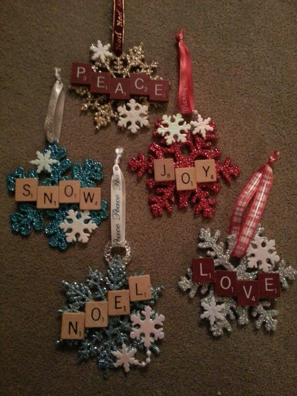 Christmas Scrabble Snowflake Ornaments Christmas Decorations