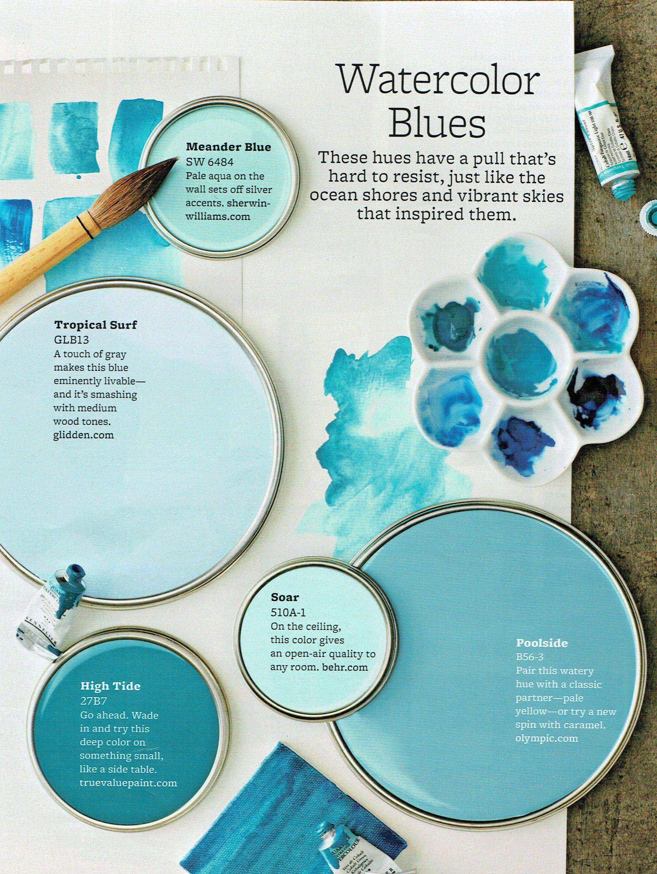 Watercolor Blues Blue Paint Colors Blue Paint Paint Color Schemes