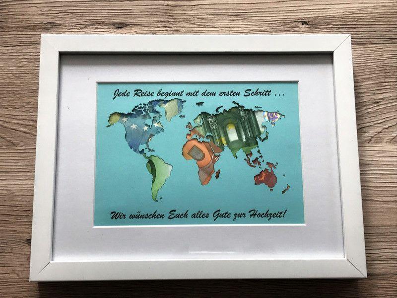 Geldgeschenke - Geldgeschenk Weltkarte mit Bilderrahmen mit Text ...