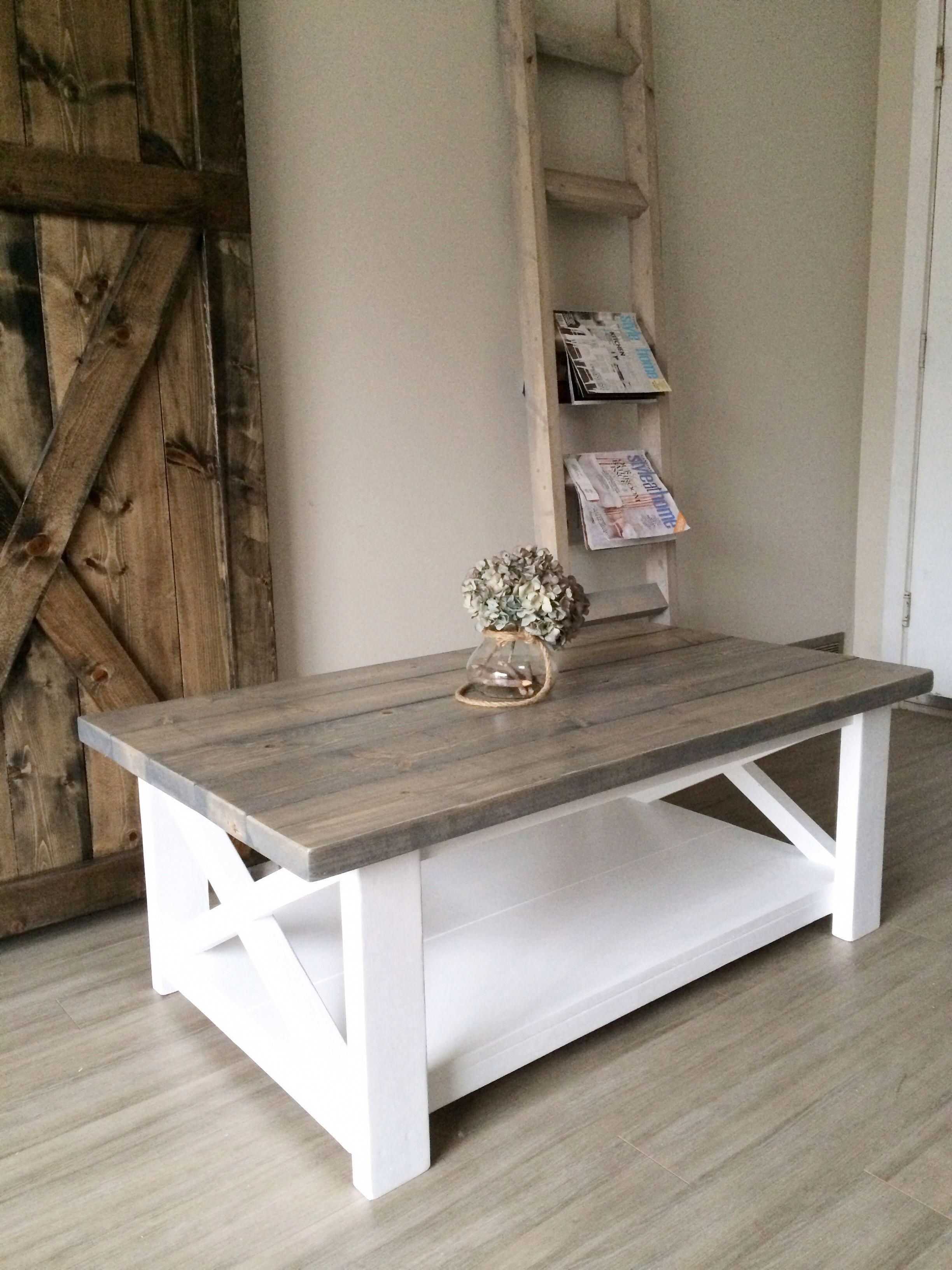 Two Toned Grey Coffee Table Rustic X Reclaimedwoodcoffeetable