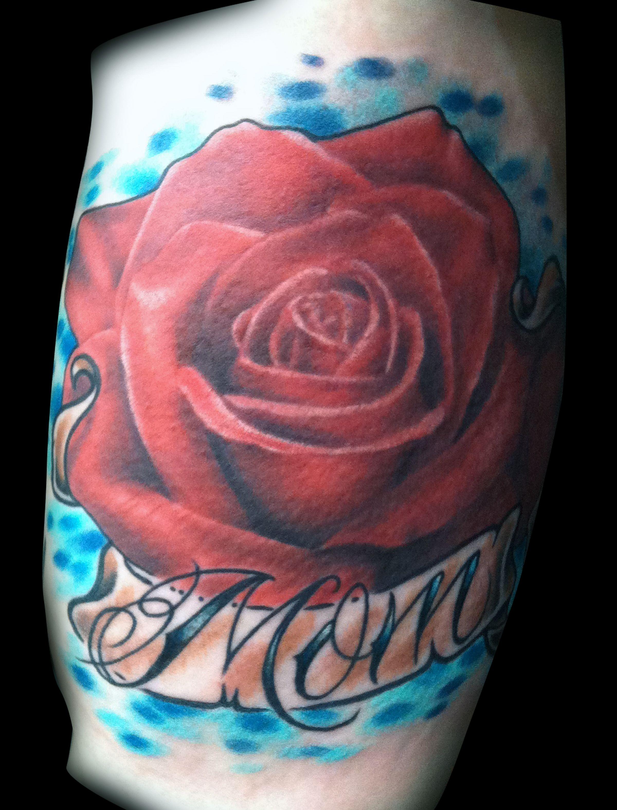 39876529285cf Realistic Rose Tattoo with Mom Banner - tattoo by Matt Skin ...