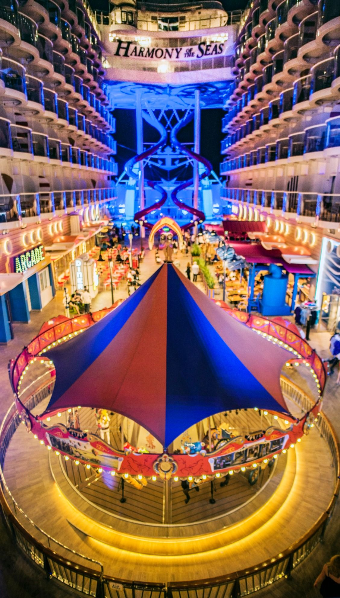 Harmony Of The Seas Epic Always On Rotation A Stroll Through The Boardwalk Onboard Royal Caribb Carribean Cruise Royal Carribean Cruise Cruise Ship Pictures