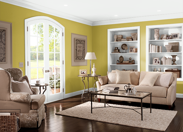 The ColorSmart by BEHR® Mobile App lets me paint a room with colors I select.