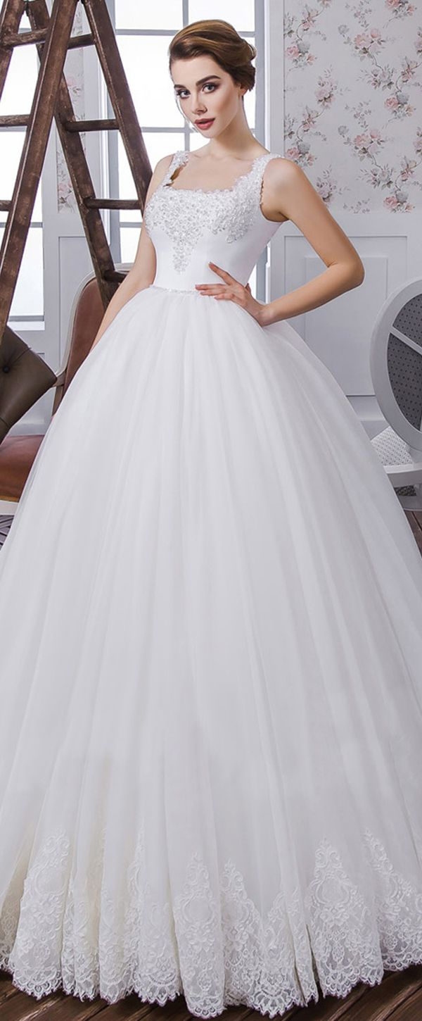 Modest tulle u satin square neckline ball gown wedding dress with
