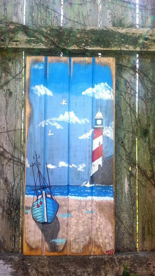 Lighthouse Fishing Boat Art Painted On By Mysalvagedpast