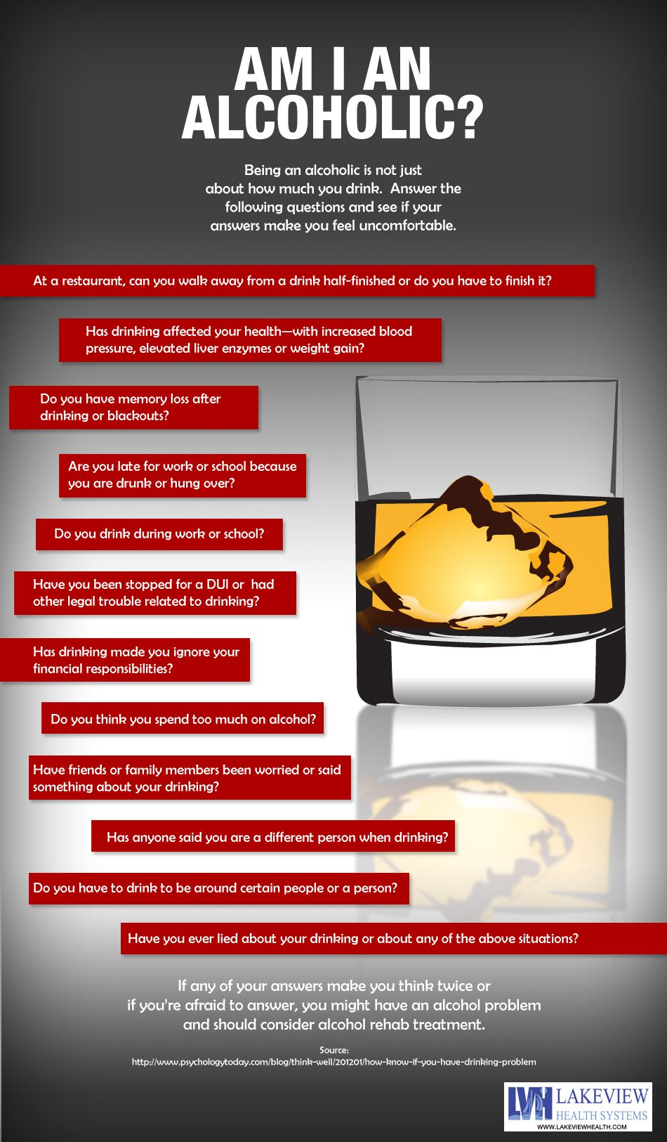 Are you an alcoholic? Answer these questions to see if you need help. #alcoholic #infographic