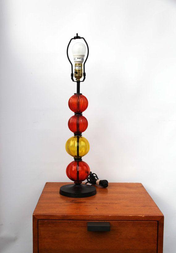 Mid Century Modern Table Lamp Glass Ball Orange Yellow Stacked Etsy Mid Century Modern Table Lamps Lamp Glass Ball