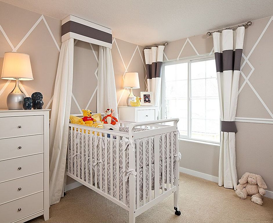 Grey and white tones unify this room via cross-stripe wall pattern, with dark purple stripes on drapes and canopy. White wood crib is flanked by twin matching dressers over brown carpeting.