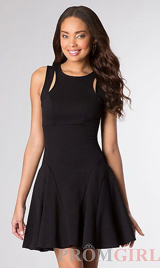 e679bc1281f507 Short Sleeveless Black Dress at PromGirl.com