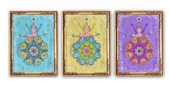 Set 3 Piece Mandala Paintings Dancing Woman Painting Mandala Wall Art Decor Mandala Art Print Golden Purple B Mandala Wall Art Mandala Painting Mandala Art