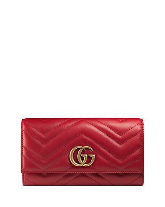 Photo of Gucci GG Marmont Medium Quilted Flap Wallet, Red