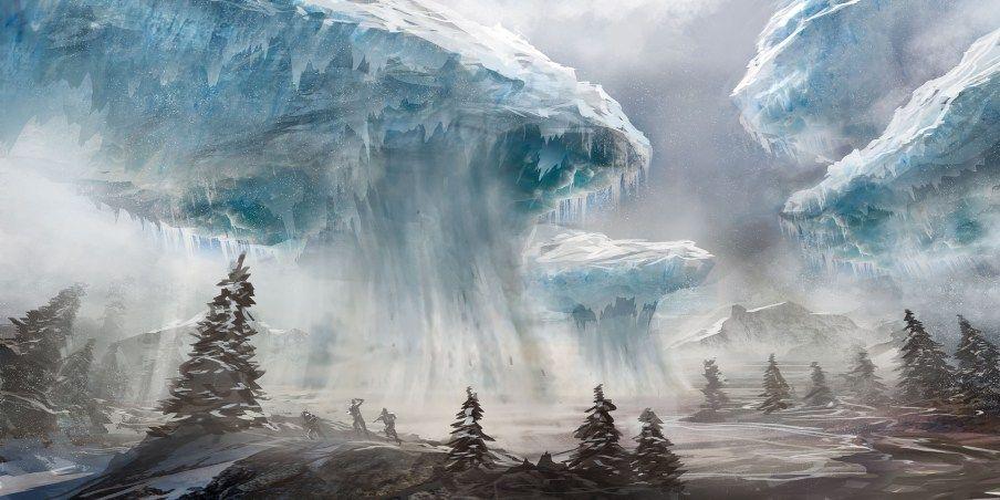 Floating Glaciers | Fantasy landscape, Fantasy setting, Fantasy world