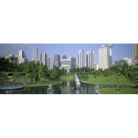 Park In The City Petronas Twin Towers Kuala Lumpur Malaysia Canvas Art - Panoramic Images (36 x 13)