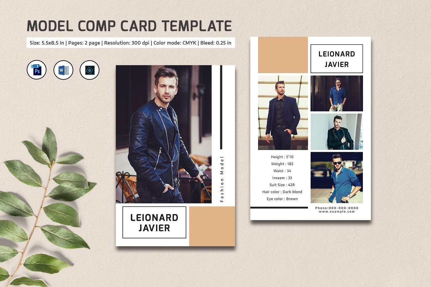 Model Comp Card Template | Fashion Model comp card ...