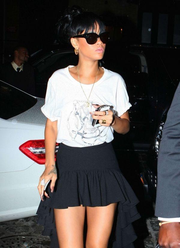 white graphic tee, peplum hi-lo skirt. For isis, longrt skirt!